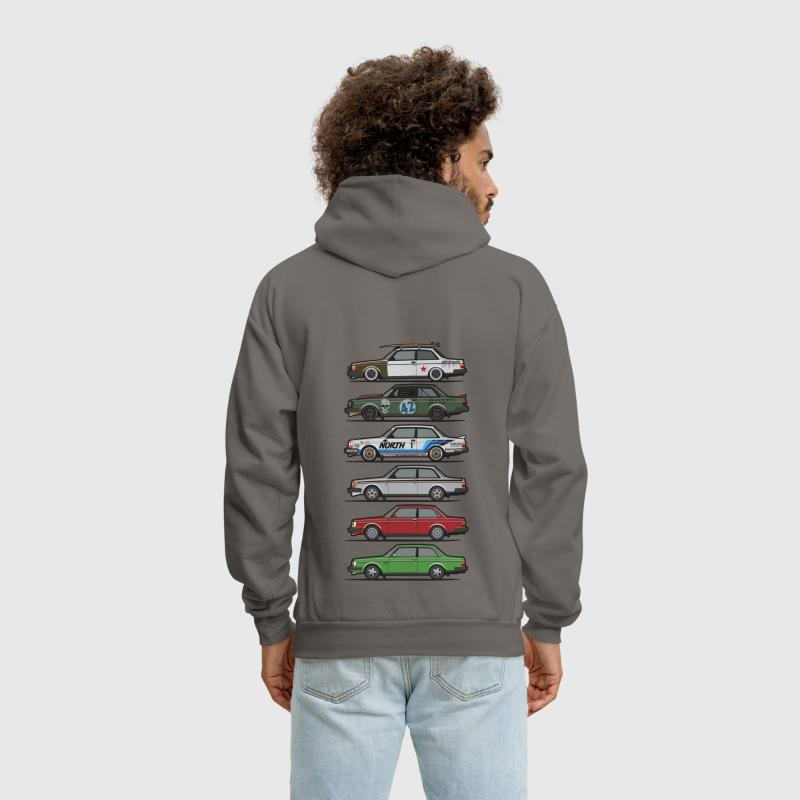 Stack of Volvo 240 Series 242 Brick Coupes - Men's Hoodie