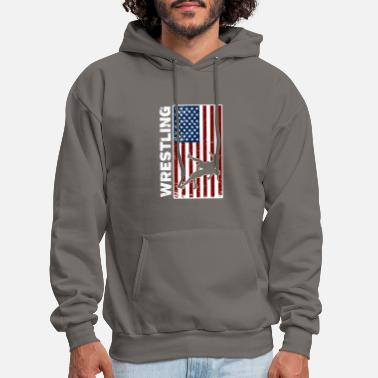 Wrestling Usa Flag Wrestling - Men's Hoodie