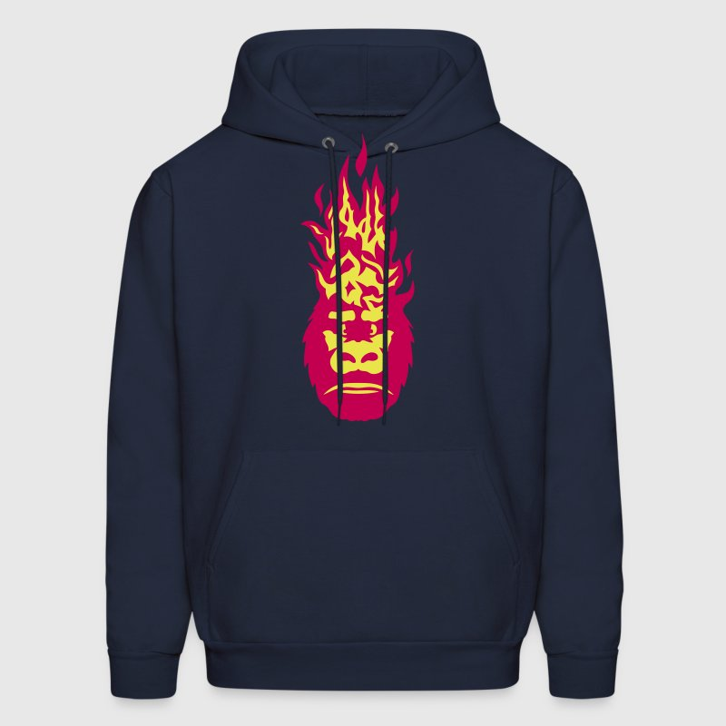 gorilla fire flame head 310 - Men's Hoodie