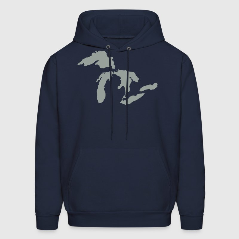 The Great Lakes Design Michigan SIlhouette Vector - Men's Hoodie