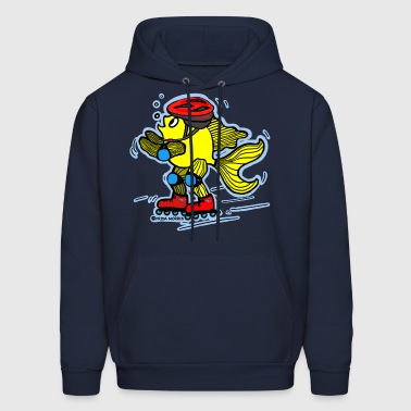Rollerblading fish , blue background - Men's Hoodie