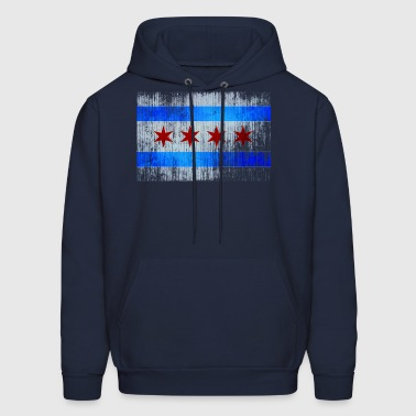 Vintage Distressed Classic Chicago City Flag - Men's Hoodie