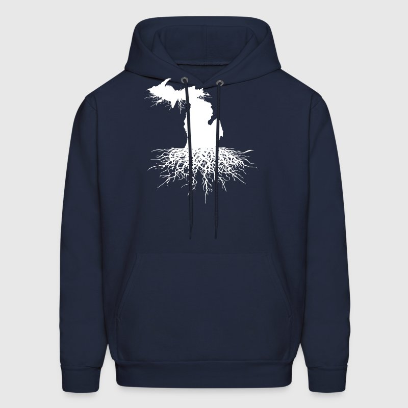 State Of Michigan Rooted Vector Roots Silhouette  - Men's Hoodie