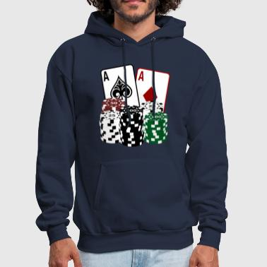 Chip Leader Poker Cards with Chips - Men's Hoodie