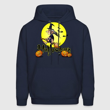 Halloween, witch on a broom, bats and pumpkins - Men's Hoodie