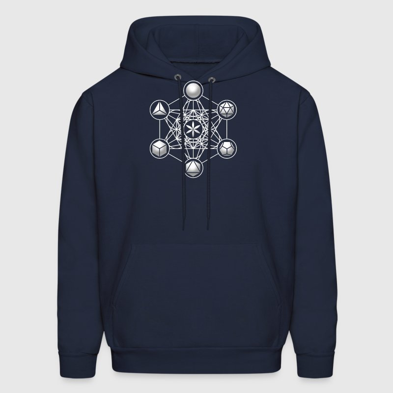 Metatrons Cube, Platonic Solids, Sacred Geometry - Men's Hoodie