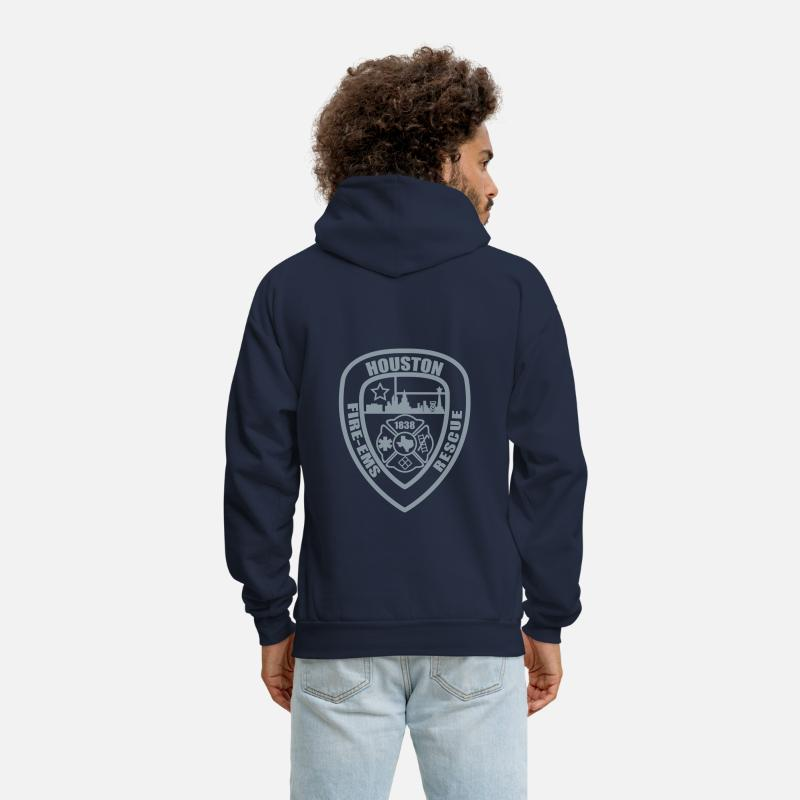 HFD Firefighter Paramedic Emt Rescue Fire Fire Fighter Houston Ems Hoodies & Sweatshirts - Houston Fire Logo - Men's Hoodie navy