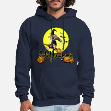 Ghost Halloween, witch on a broom, bats and pumpkins - Men's Hoodie