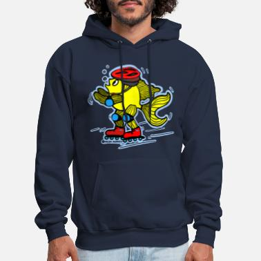Sports Rollerblading fish , blue background - Men's Hoodie