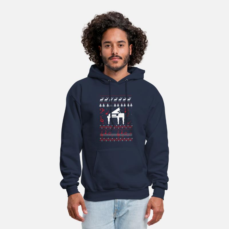 Keyboard Hoodies & Sweatshirts - Christmas Carol Piano | Ugly Sweater - Men's Hoodie navy