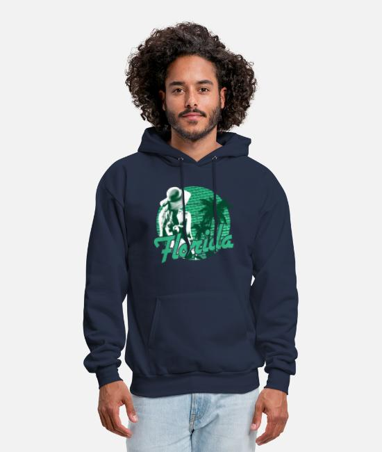 Florida Keys Hoodies & Sweatshirts - Florida Beach Girl Green Paradise - Men's Hoodie navy
