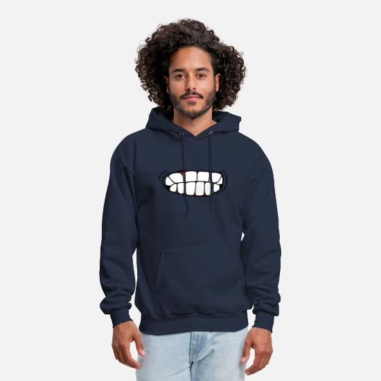 Art Hoodies & Sweatshirts - teeth crunching mouth pissed head face angry angry - Men's Hoodie navy