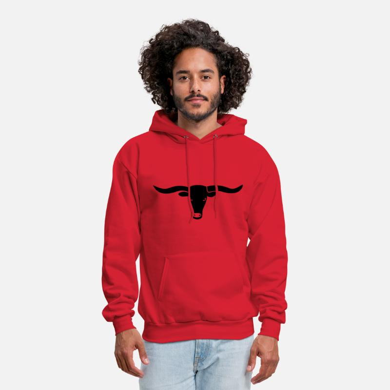Skull Hoodies & Sweatshirts - bull skull ox horn horns bully cow farmer cowboy rodeo hunter texas boy wild west buffalo - Men's Hoodie red