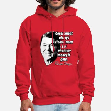 Reagan Reagan Quote Government and Money - Men's Hoodie