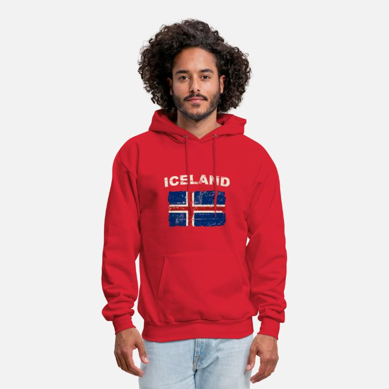 Iceland Hoodies & Sweatshirts - Iceland Flag - Men's Hoodie red