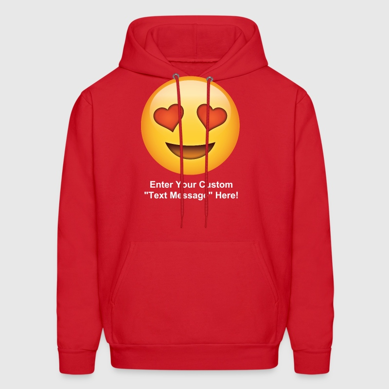 Valentine's Day I love You Heart Eyes Emoticon - Men's Hoodie