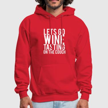 Wine Tasting On The Couch White Font - Men's Hoodie