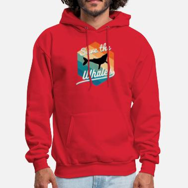 Hawaiian Save the whales retro distressed 1970s style - Men's Hoodie