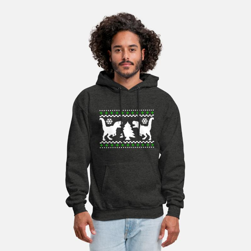 T Rex Ugly Christmas Sweater.Ugly T Rex Christmas Sweater Men S Hoodie Charcoal Gray