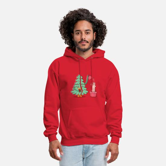 Funny Hoodies & Sweatshirts - Tree watering its human - Men's Hoodie red