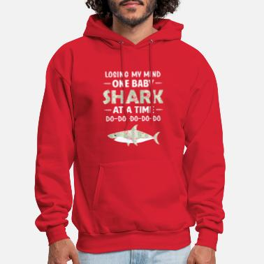 Losing My Mind One Baby Shark At A Time Floral - Men's Hoodie