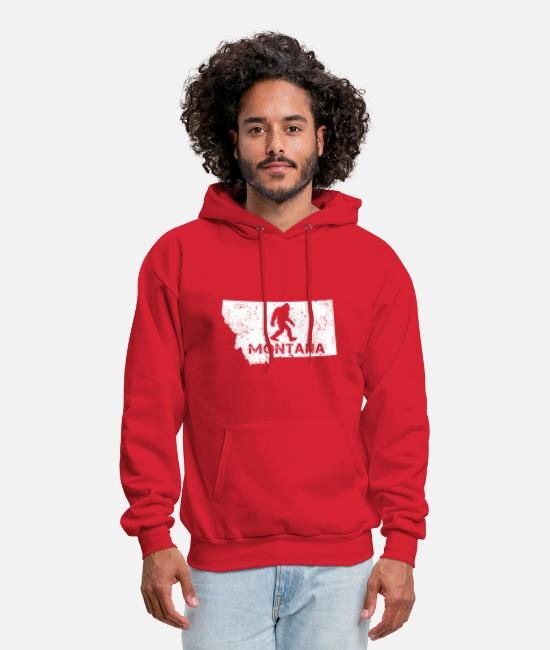 Montana Hoodies & Sweatshirts - Funny Bigfoot Montana T-shirt Love Montana - Men's Hoodie red