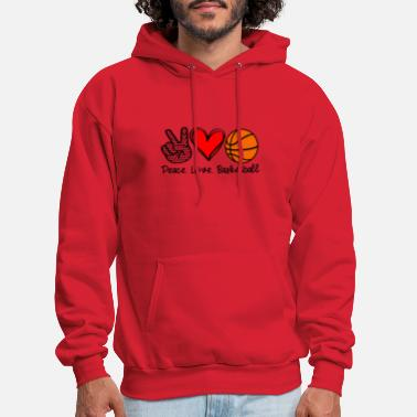 Peace Peace Love and Basketball - Men's Hoodie