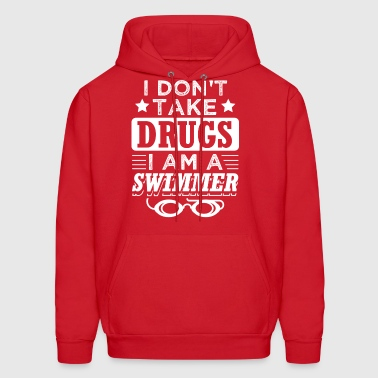 Funny Swim Swimming Shirt No Drugs - Men's Hoodie