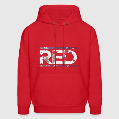RED - Support Our Troops - Men's Hoodie