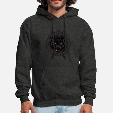Black Wolf T-Shirt Arrows Angry Wolves Canine Dog - Men's Hoodie