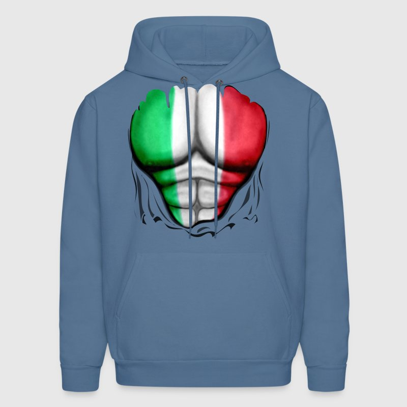 Mexico Flag Ripped Muscles, six pack, chest t-shirt - Men's Hoodie