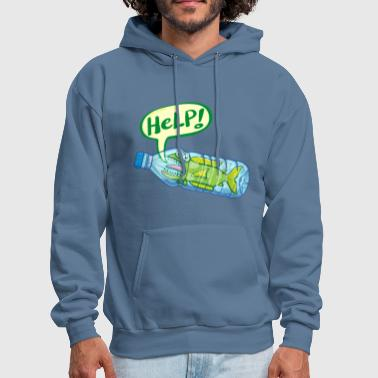 Fish inside a plastic bottle asking for help - Men's Hoodie
