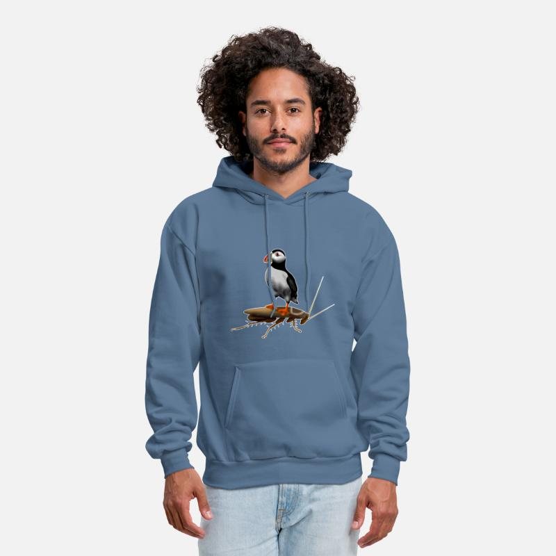 Drugs Hoodies & Sweatshirts - Puffin On A Roach - Men's Hoodie denim blue