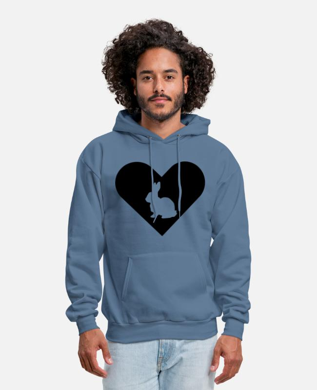 Heart Hoodies & Sweatshirts - Heart-Bunny (black) - Men's Hoodie denim blue