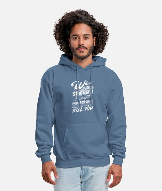 Funny Hoodies & Sweatshirts - What Doesn't Kill You Makes you Stronger, Except - Men's Hoodie denim blue
