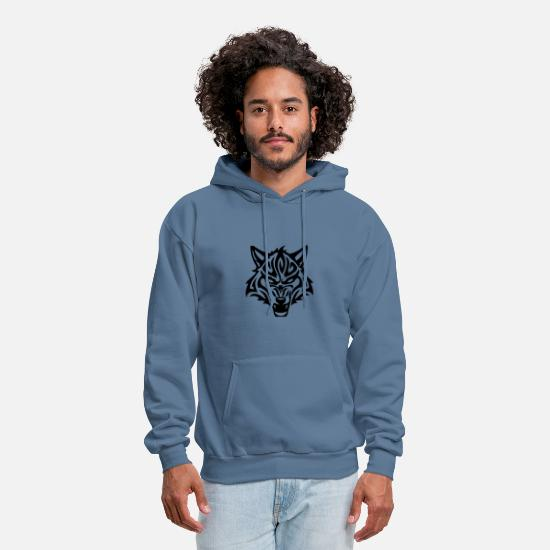 Wolf Hoodies & Sweatshirts - shirt wolf girl loves wolves - Men's Hoodie denim blue