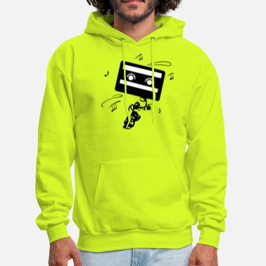 Music Note Retro cassette with music notes. Music logo. - Men's Hoodie