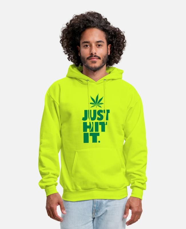 Weed Funny Hoodies & Sweatshirts - JUST HIT IT. - Men's Hoodie safety green