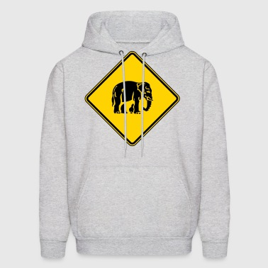 Caution Elephant Crossing Sign - Men's Hoodie