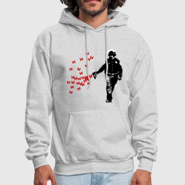 Police - Street Art Pepper Spray Cop Butterfly - Men's Hoodie