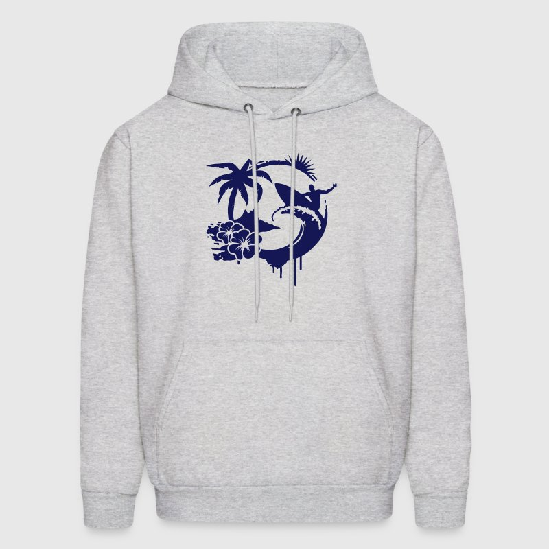 Surfing graffiti - Palm, hibiscus, island, wave and surfer with surfboard  - Men's Hoodie