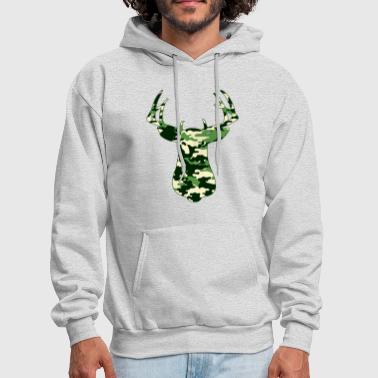 Camouflage BUCK IN GREEN CAMO - VECTOR GRAPHIC - Men's Hoodie