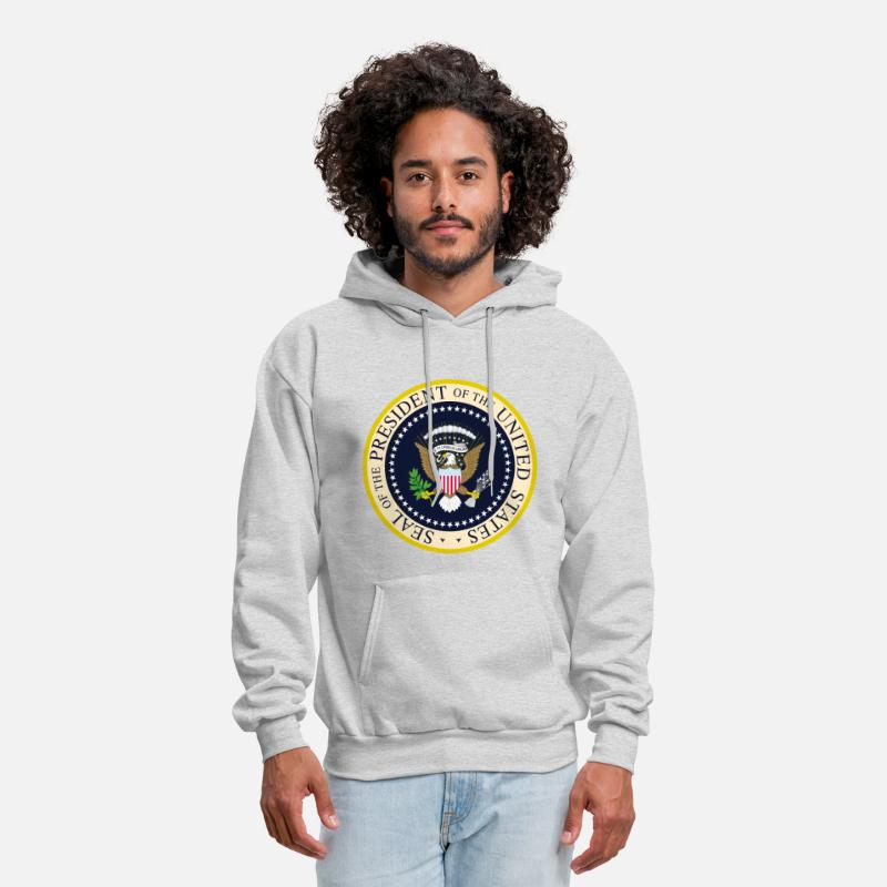 Navy Hoodies & Sweatshirts - Presidential Seal - Men's Hoodie ash