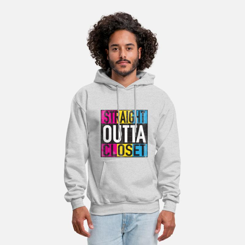 Gay Hoodies & Sweatshirts - Straight Outta Closet Pansexual LGBT Pride Grunge - Men's Hoodie ash