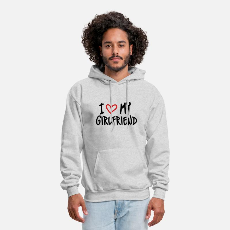 Girl Hoodies & Sweatshirts - I Love My Girlfriend - Men's Hoodie ash