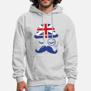 Funny Vintage English Gentleman Sir Boss with Moustache - Men's Hoodie