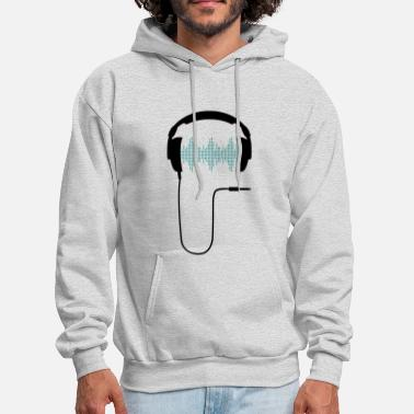 Electronic Music dj headphones frequency music beat sound techno hip hop dance electronic pop club turntable record - Men's Hoodie