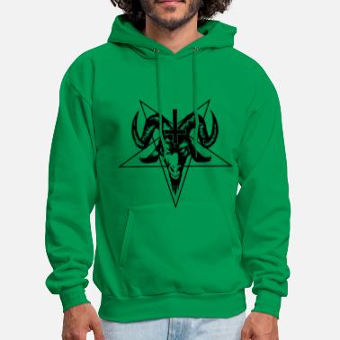 Satanic Goat Head with Pentagram - Men's Hoodie