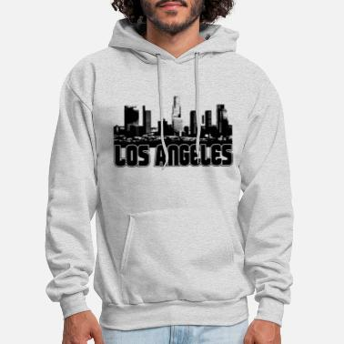DISTRESSED LOS ANGELES SKYLINE CALI PRIDE CITY Mens Gray Hoodie