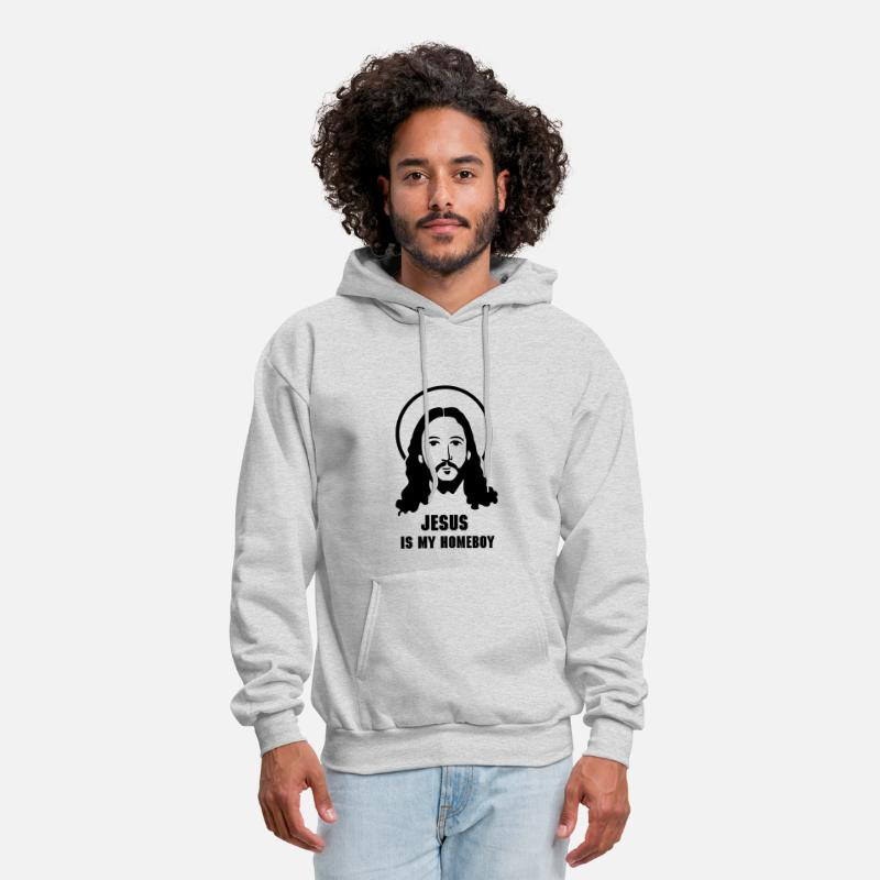 Christian Hoodies & Sweatshirts - Jesus Face - Men's Hoodie ash